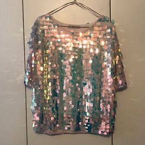 Iridescent Holographic Sequin Zara top